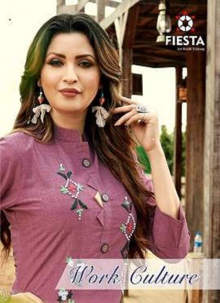 Fiesta Work Culture Latest Casual Wear Designer Three Fourth Sleeve Kurtis Collection